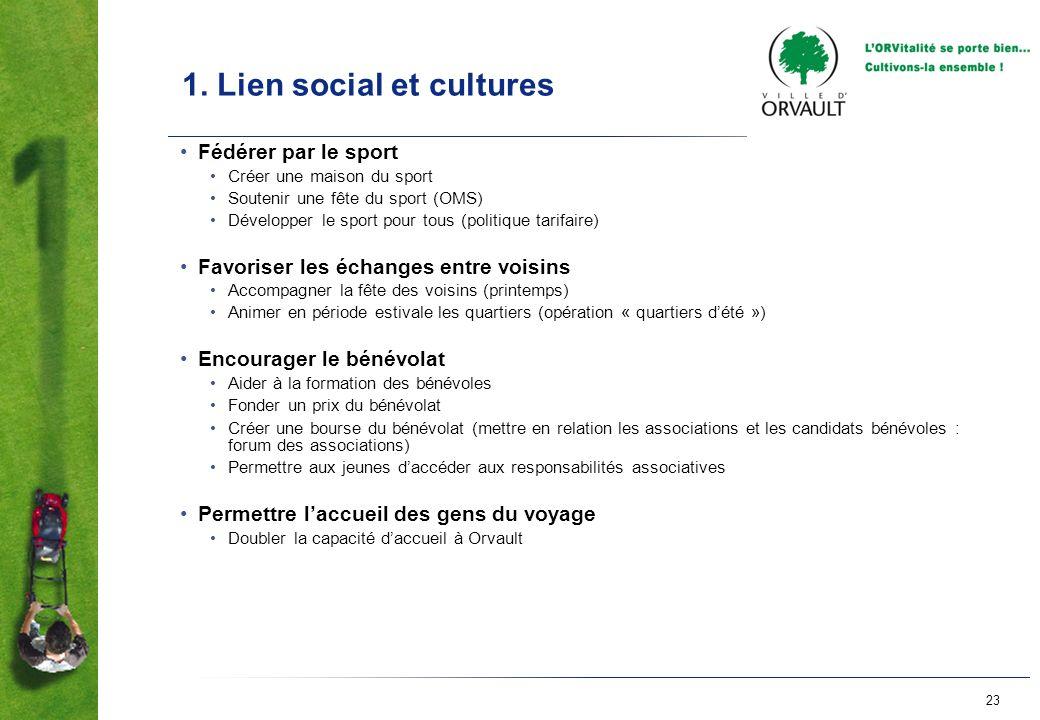 23 1. Lien social et cultures Fédérer par le sport Créer une maison du sport Soutenir une fête du sport (OMS) Développer le sport pour tous (politique