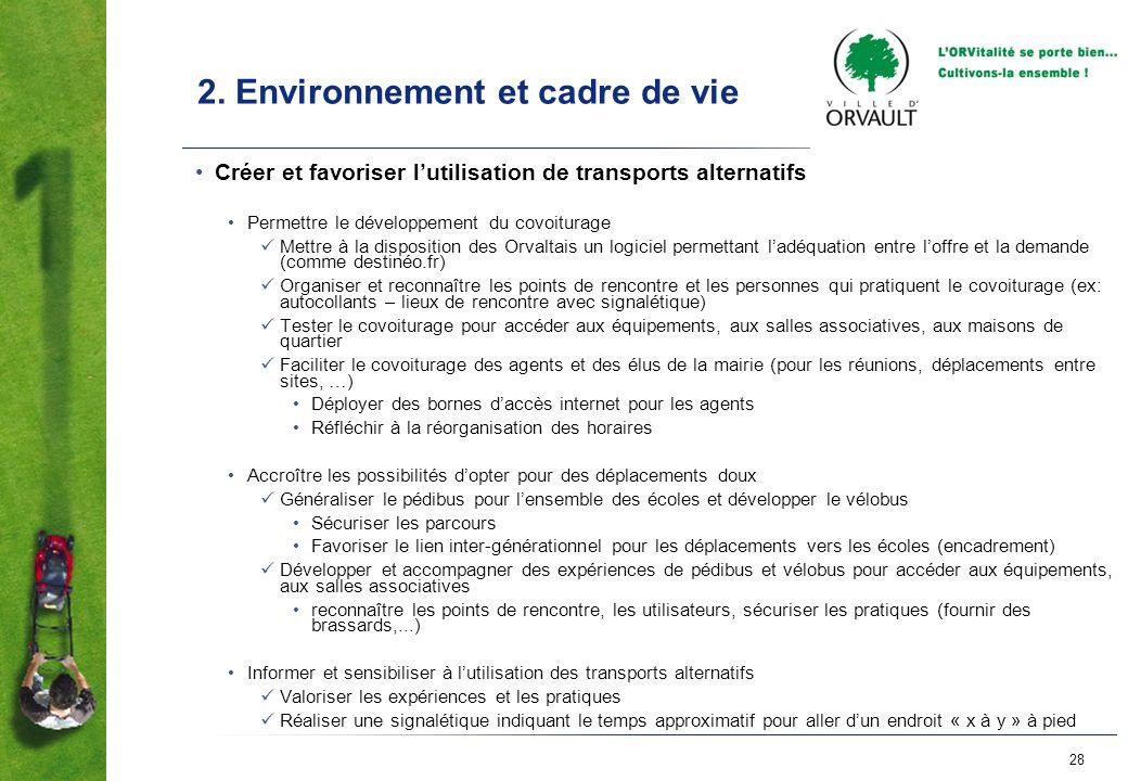 28 2. Environnement et cadre de vie Créer et favoriser lutilisation de transports alternatifs Permettre le développement du covoiturage Mettre à la di