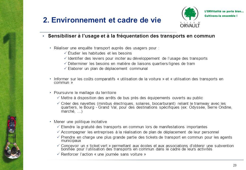 29 2. Environnement et cadre de vie Sensibiliser à lusage et à la fréquentation des transports en commun Réaliser une enquête transport auprès des usa