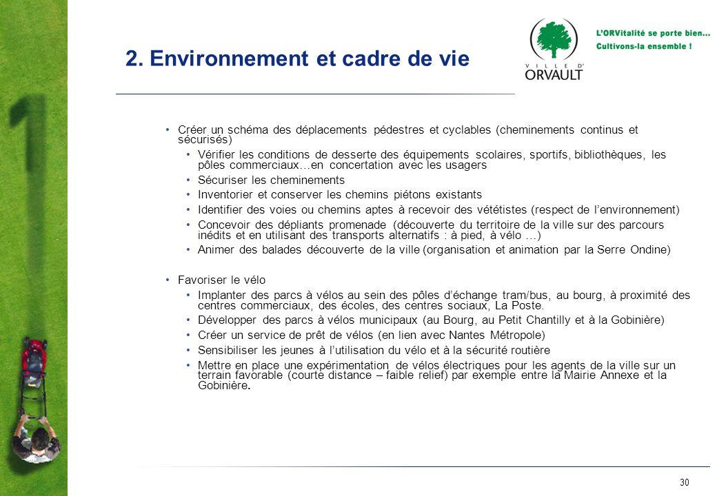 30 2. Environnement et cadre de vie Créer un schéma des déplacements pédestres et cyclables (cheminements continus et sécurisés) Vérifier les conditio