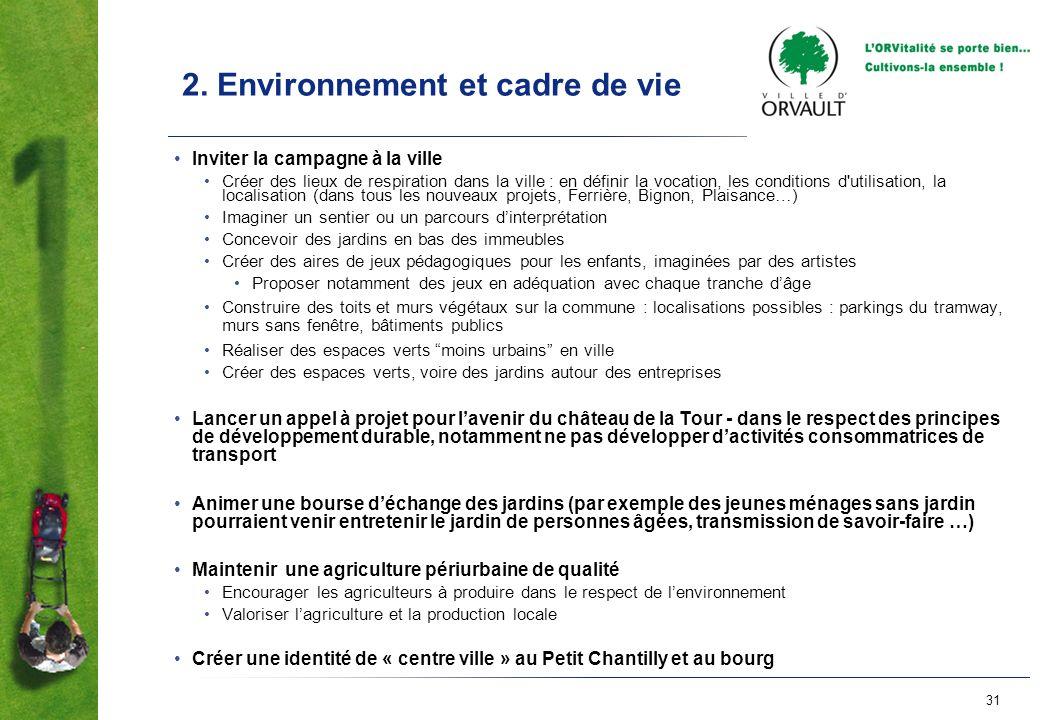 31 2. Environnement et cadre de vie Inviter la campagne à la ville Créer des lieux de respiration dans la ville : en définir la vocation, les conditio