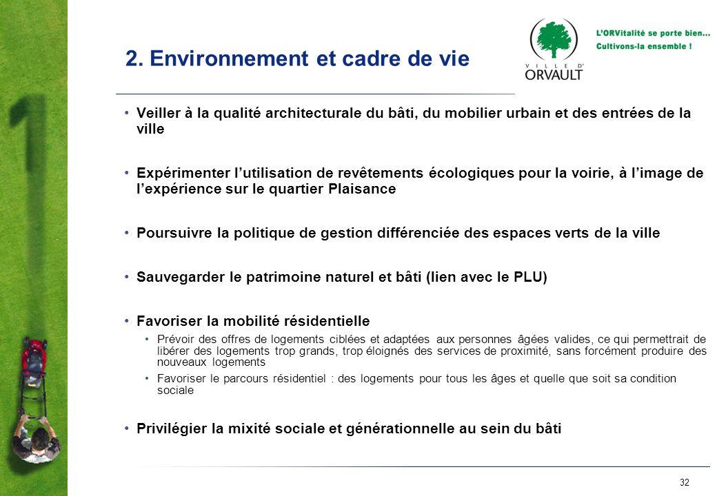 32 2. Environnement et cadre de vie Veiller à la qualité architecturale du bâti, du mobilier urbain et des entrées de la ville Expérimenter lutilisati
