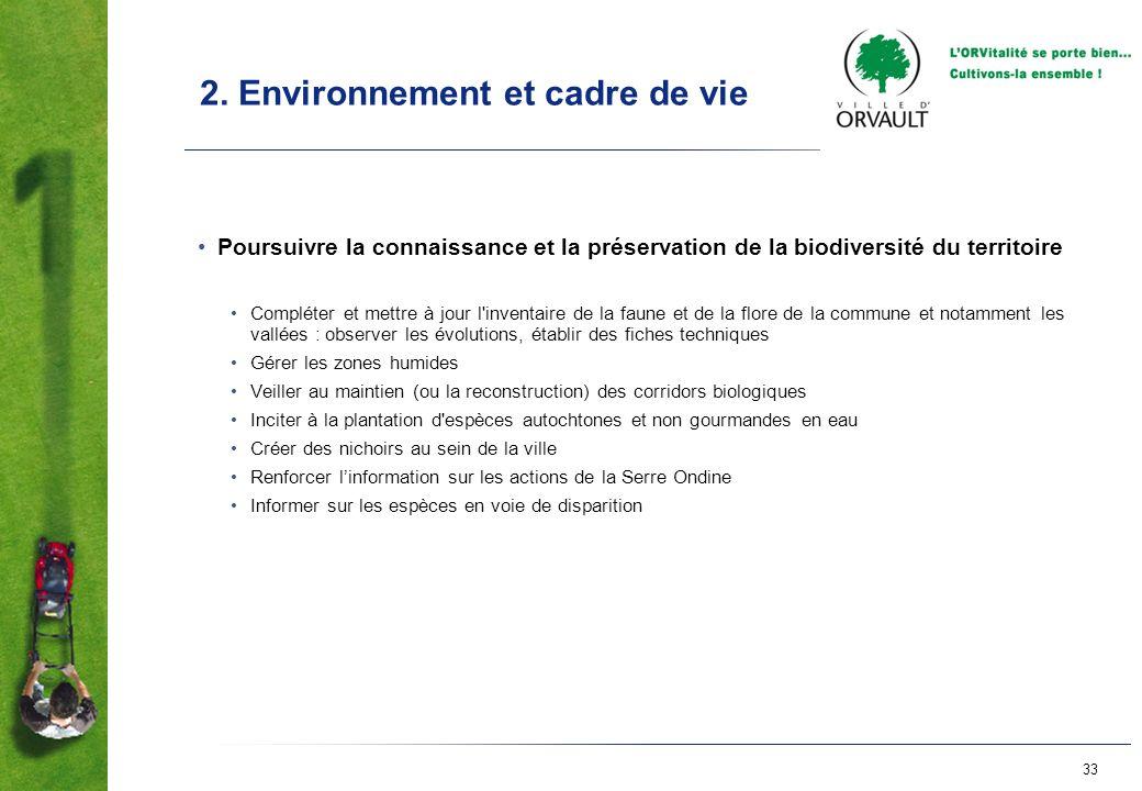 33 2. Environnement et cadre de vie Poursuivre la connaissance et la préservation de la biodiversité du territoire Compléter et mettre à jour l'invent