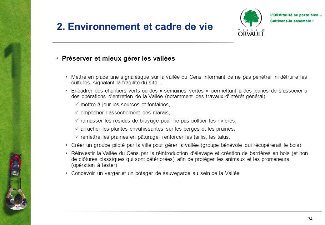 34 2. Environnement et cadre de vie Préserver et mieux gérer les vallées Mettre en place une signalétique sur la vallée du Cens informant de ne pas pé