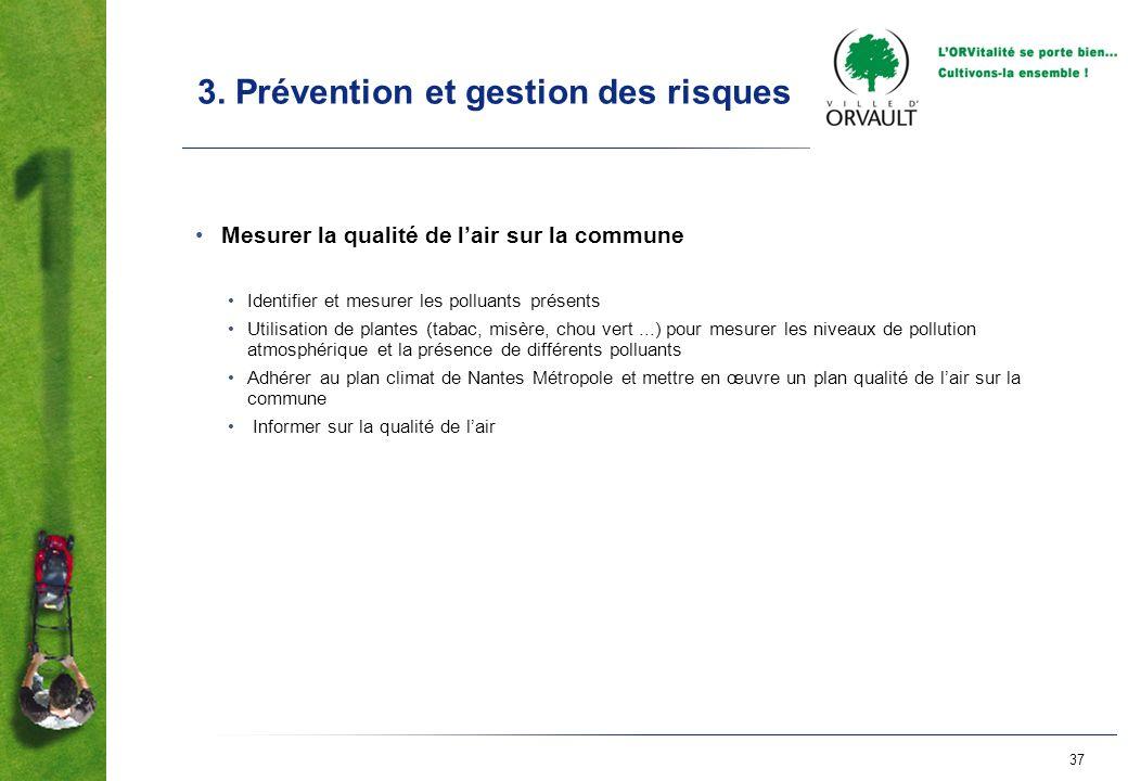 37 3. Prévention et gestion des risques Mesurer la qualité de lair sur la commune Identifier et mesurer les polluants présents Utilisation de plantes