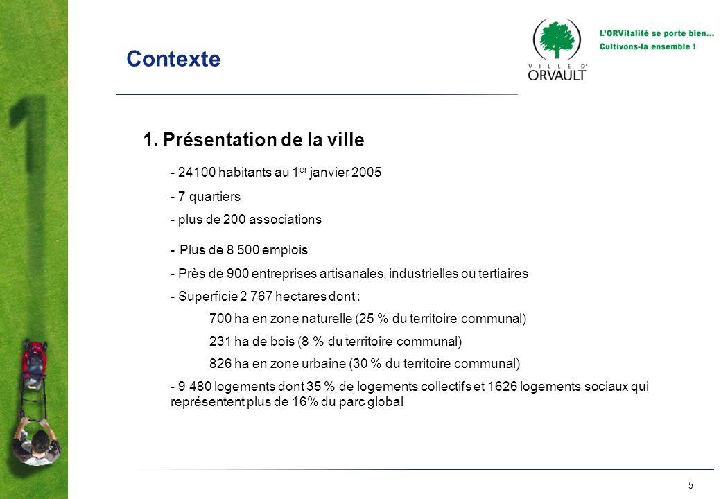 5 Contexte 1. Présentation de la ville - 24100 habitants au 1 er janvier 2005 - 7 quartiers - plus de 200 associations - Plus de 8 500 emplois - Près