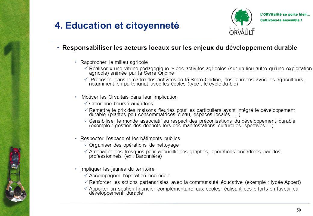 50 4. Education et citoyenneté Responsabiliser les acteurs locaux sur les enjeux du développement durable Rapprocher le milieu agricole Réaliser « une