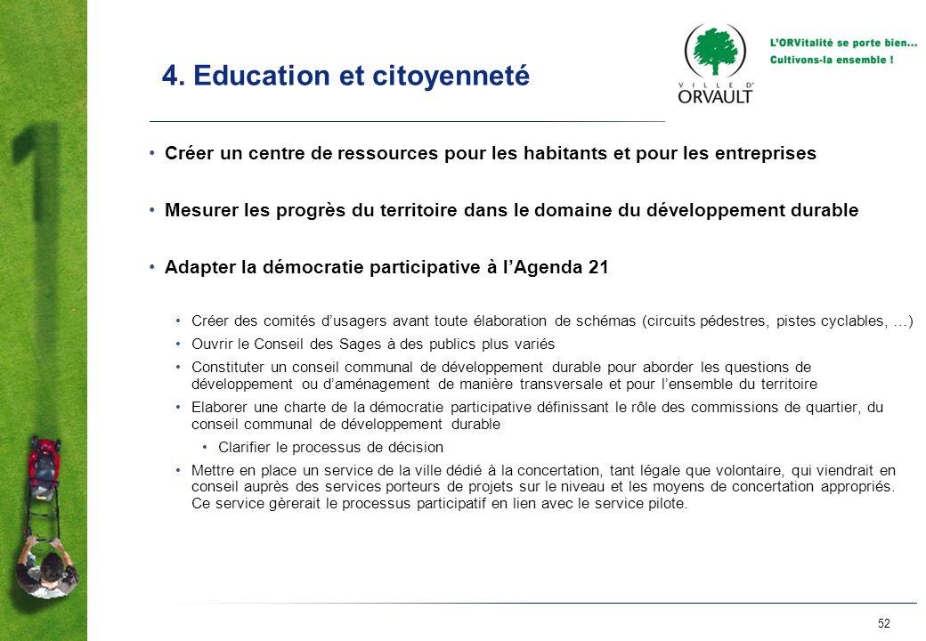 52 4. Education et citoyenneté Créer un centre de ressources pour les habitants et pour les entreprises Mesurer les progrès du territoire dans le doma