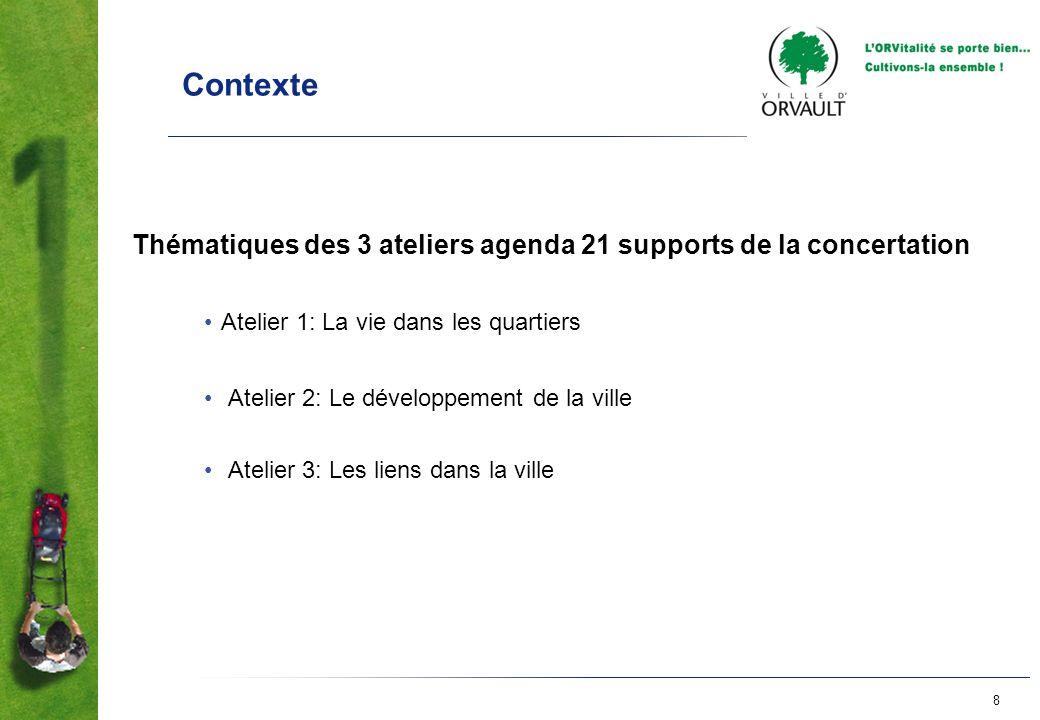 8 Contexte Thématiques des 3 ateliers agenda 21 supports de la concertation Atelier 1: La vie dans les quartiers Atelier 2: Le développement de la vil