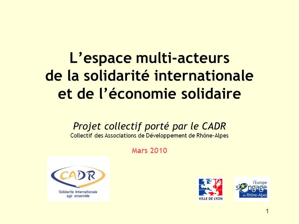 1 Lespace multi-acteurs de la solidarité internationale et de léconomie solidaire Projet collectif porté par le CADR Collectif des Associations de Dév