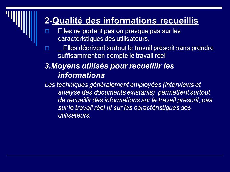 2-Qualité des informations recueillis Elles ne portent pas ou presque pas sur les caractéristiques des utilisateurs, _ Elles décrivent surtout le trav