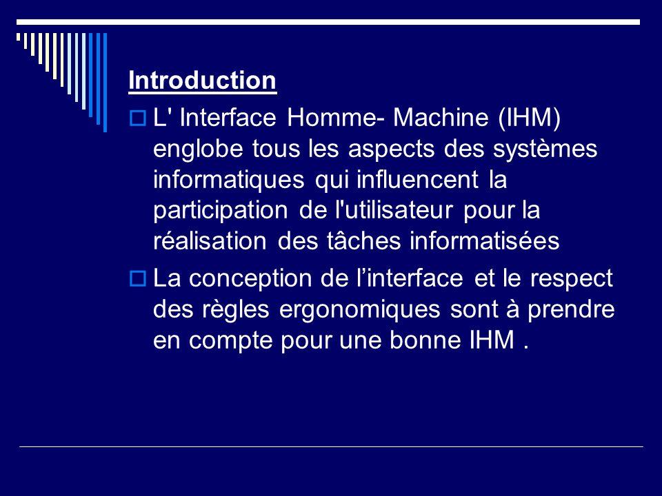 Introduction L' Interface Homme- Machine (IHM) englobe tous les aspects des systèmes informatiques qui influencent la participation de l'utilisateur p