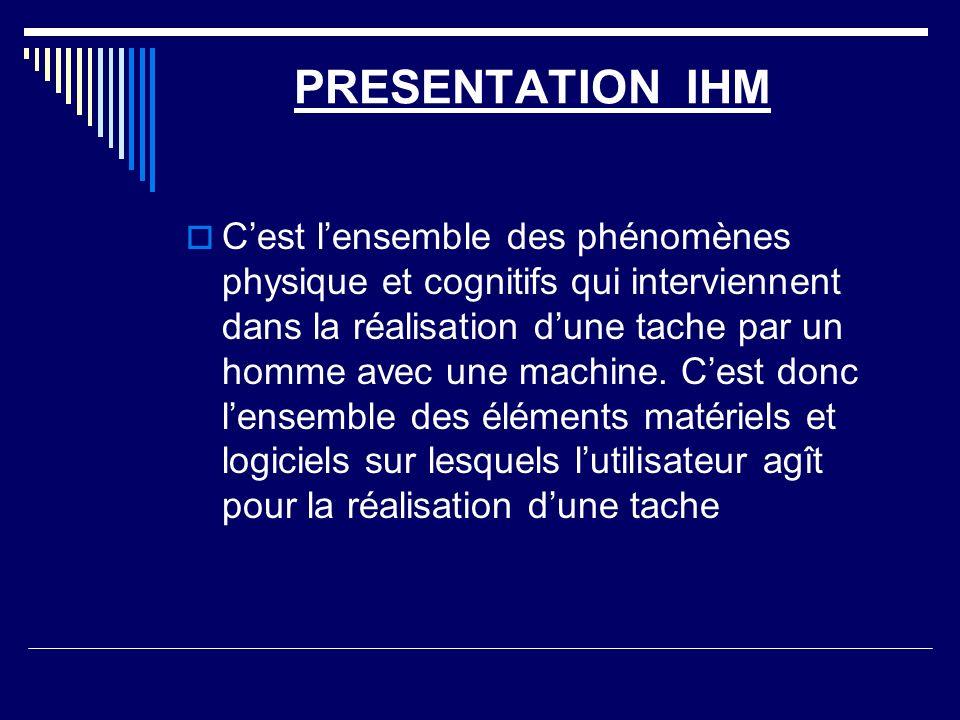 PRESENTATION IHM Cest lensemble des phénomènes physique et cognitifs qui interviennent dans la réalisation dune tache par un homme avec une machine. C