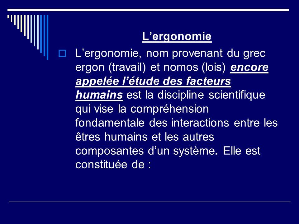 Lergonomie Lergonomie, nom provenant du grec ergon (travail) et nomos (lois) encore appelée létude des facteurs humains est la discipline scientifique