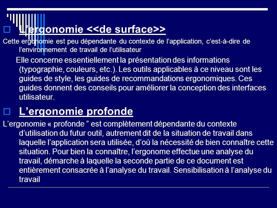 Lergonomie > Cette ergonomie est peu dépendante du contexte de lapplication, cest-à-dire de lenvironnement de travail de lutilisateur Elle concerne es