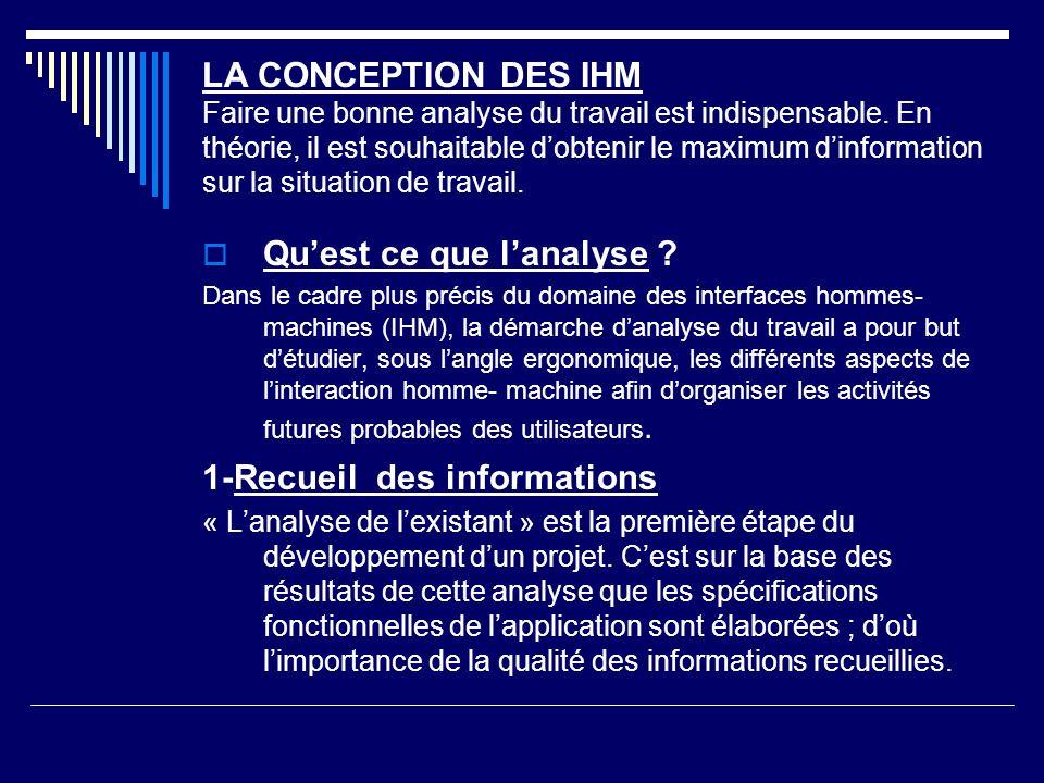 LA CONCEPTION DES IHM Faire une bonne analyse du travail est indispensable. En théorie, il est souhaitable dobtenir le maximum dinformation sur la sit