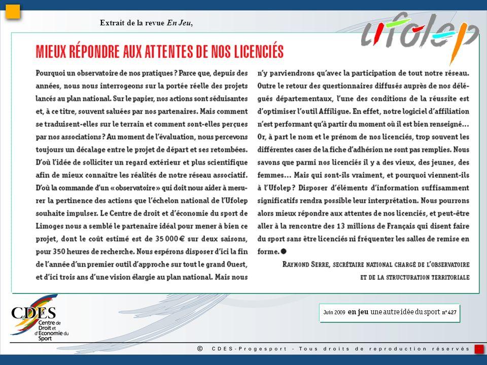 Préambule A lUFOLEP, la commission nationale « Développement » a constitué un groupe de travail « Observatoire ».
