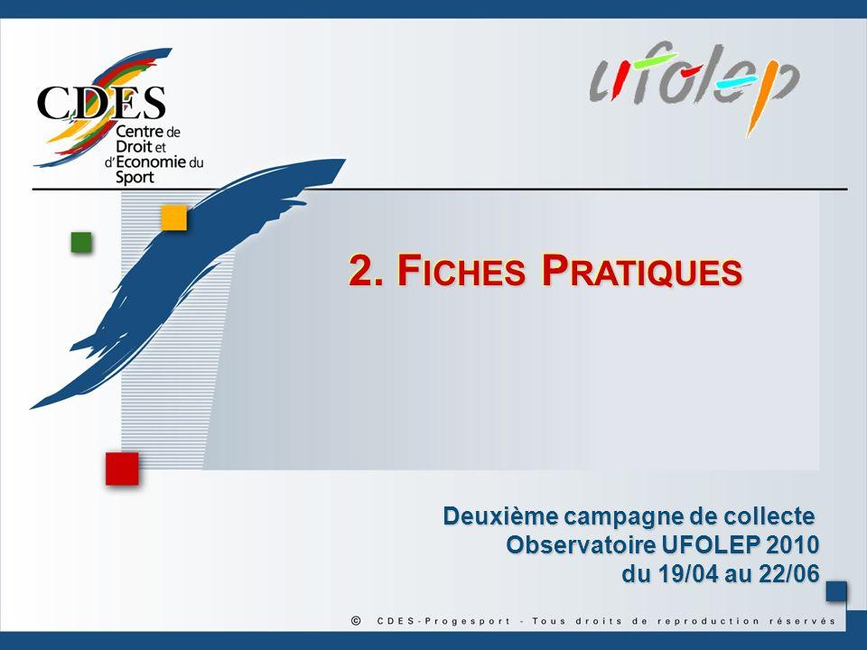 2. F ICHES P RATIQUES Deuxième campagne de collecte Observatoire UFOLEP 2010 du 19/04 au 22/06