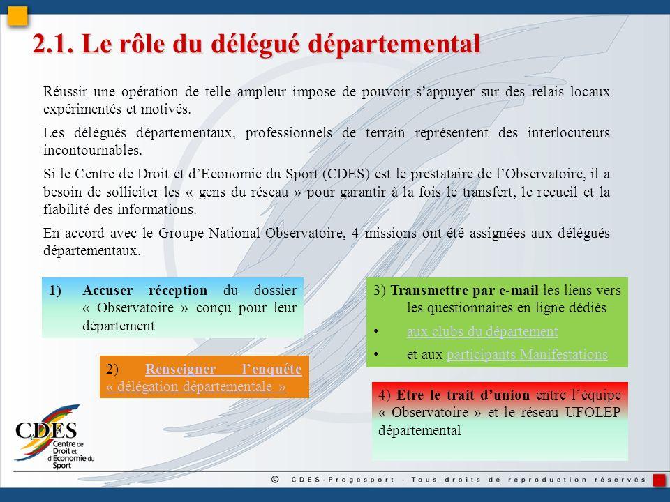 2.1. Le rôle du délégué départemental Réussir une opération de telle ampleur impose de pouvoir sappuyer sur des relais locaux expérimentés et motivés.