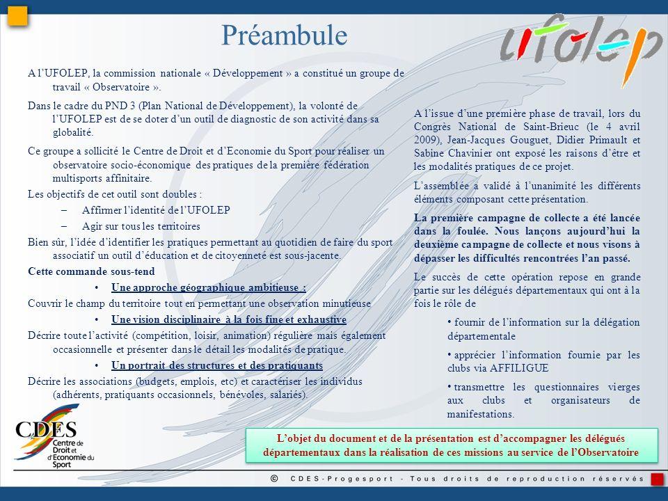 Préambule A lUFOLEP, la commission nationale « Développement » a constitué un groupe de travail « Observatoire ». Dans le cadre du PND 3 (Plan Nationa