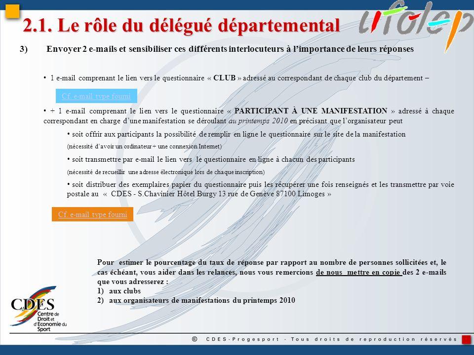 2.1. Le rôle du délégué départemental 3)Envoyer 2 e-mails et sensibiliser ces différents interlocuteurs à limportance de leurs réponses 1 e-mail compr