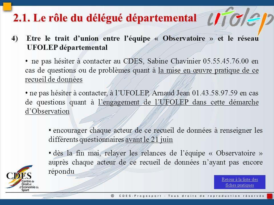 2.1. Le rôle du délégué départemental 4) Etre le trait dunion entre léquipe « Observatoire » et le réseau UFOLEP départemental ne pas hésiter à contac