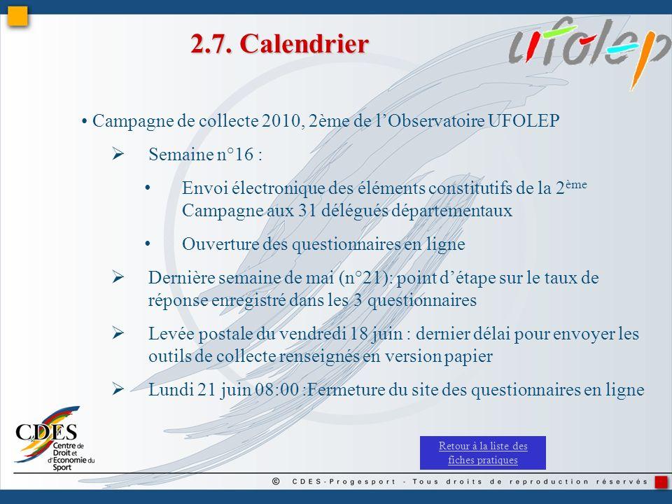 2.7. Calendrier Campagne de collecte 2010, 2ème de lObservatoire UFOLEP Semaine n°16 : Envoi électronique des éléments constitutifs de la 2 ème Campag