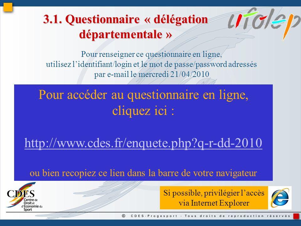 3.1. Questionnaire « délégation départementale » Pour renseigner ce questionnaire en ligne, utilisez lidentifiant/login et le mot de passe/password ad
