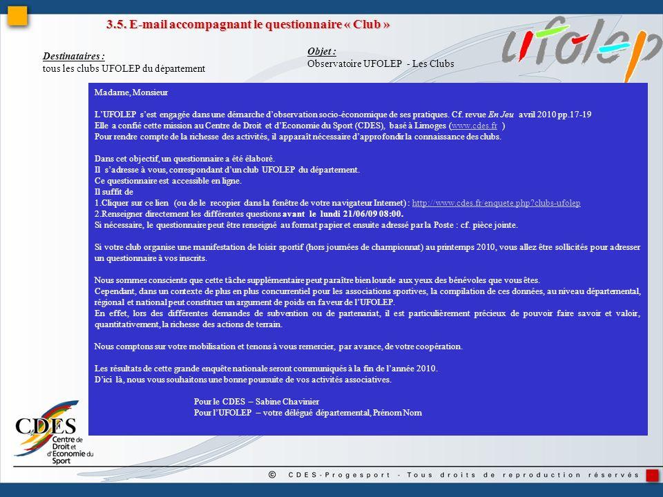 3.5. E-mail accompagnant le questionnaire « Club » Madame, Monsieur LUFOLEP sest engagée dans une démarche dobservation socio-économique de ses pratiq