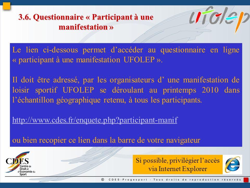 3.6. Questionnaire « Participant à une manifestation » Le lien ci-dessous permet daccéder au questionnaire en ligne « participant à une manifestation
