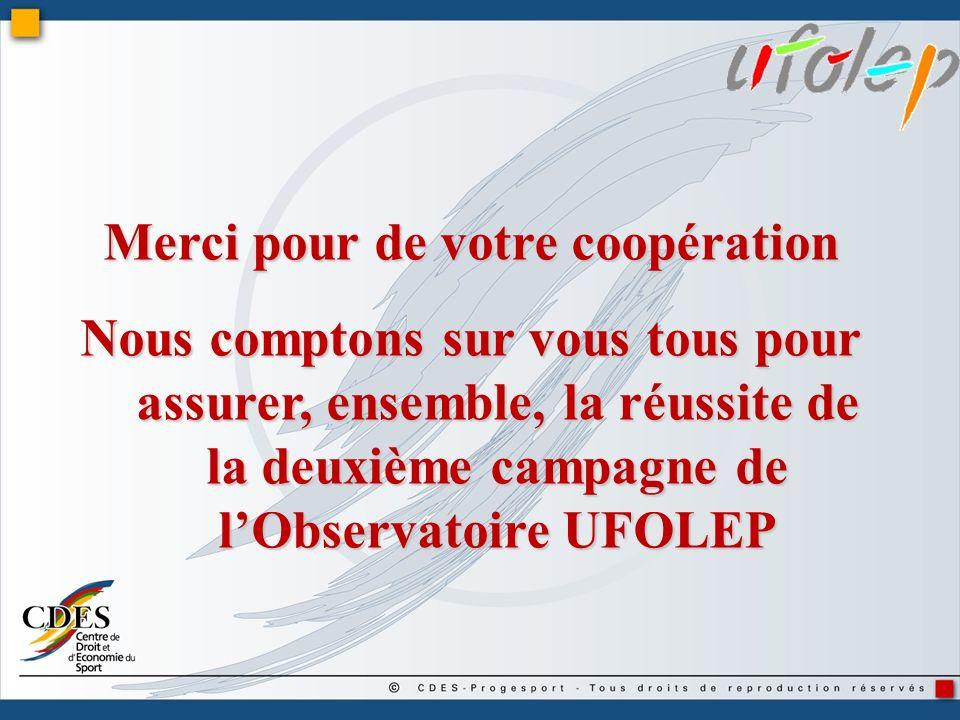 Merci pour de votre coopération Nous comptons sur vous tous pour assurer, ensemble, la réussite de la deuxième campagne de lObservatoire UFOLEP