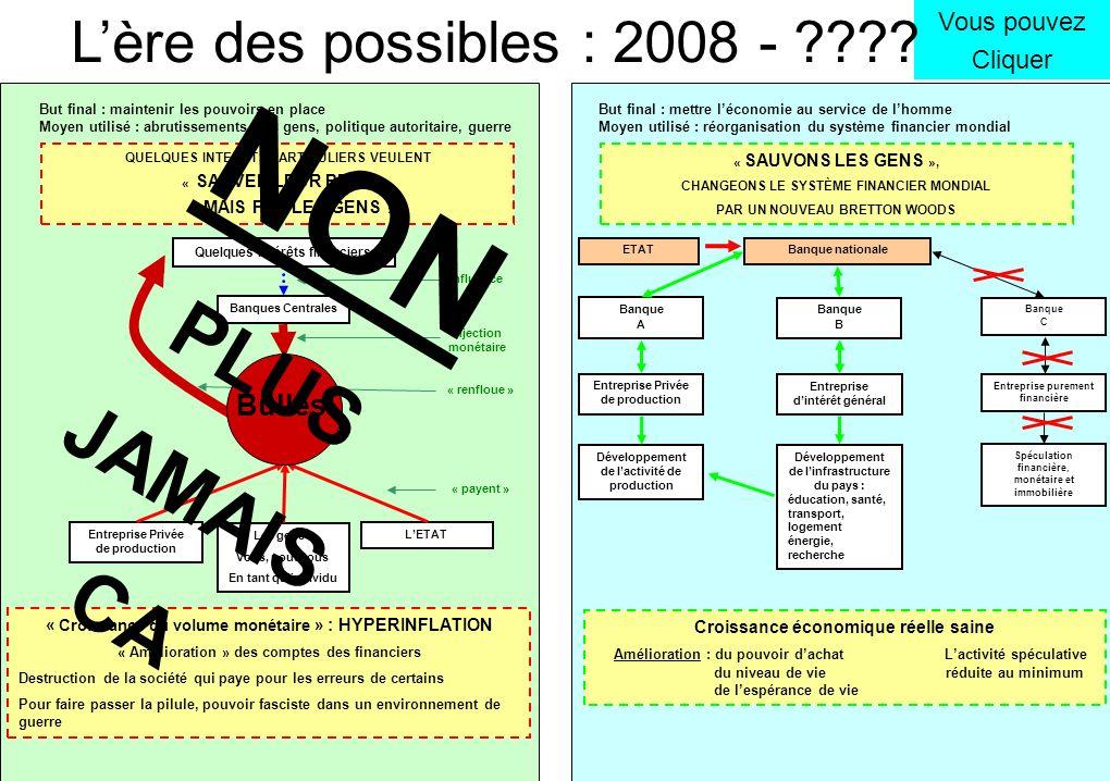 Vous pouvez Cliquer Lère des possibles : 2008 - ???? Quelques intérêts financiers Banques Centrales Bulles Entreprise Privée de production Les gens :