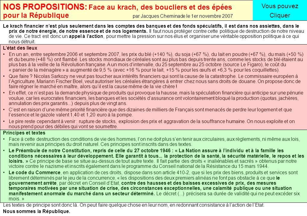 NOS PROPOSITIONS: NOS PROPOSITIONS: Face au krach, des boucliers et des épées pour la République par Jacques Cheminade le 1er novembre 2007 Le krach f