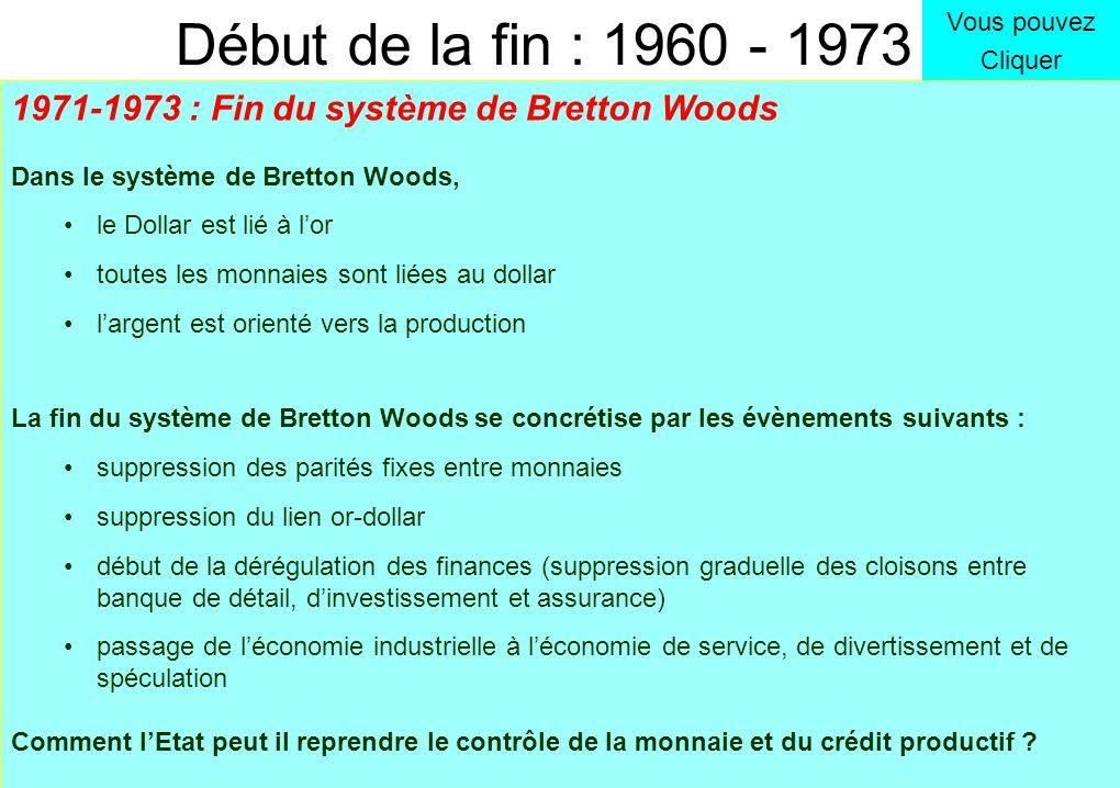 1971 : fin du système de Bretton Woods (fin de la parité or-dollar) Contrôle national du Crédit Banque B Banque C Banque A Entreprise dintérêt général Entreprise Privée de production Développement de linfrastructure du pays : éducation, santé, transport, logement énergie, recherche Production de biens ou services Lactivité spéculative est réduite au minimum 1960 : Euro dollars Pour un dollar physique dans le coffre de la Banque US, il est créé 1 dollar « virtuel » dans une banque étrangère (jusquà 3$ virtuel pour 1 réel !) évolution temps 1965 : Narco dollars Largent du trafic de drogue irrigue les marchés financiers Entreprise purement financière Spéculation financière, monétaire et immobilière 1960 1970 Banque D Entreprise purement financière Spéculation financière, monétaire et immobilière Vous pouvez Cliquer But final : contourner les règles pour ne plus être lié à la réalité physique Moyen utilisé : création de monnaie virtuelle et multiplication dactivités illégales Début de la fin : 1960 - 1973 Amélioration de la productivité Croissance économique réelle saine Amélioration : du pouvoir dachat du niveau de vie de lespérance de vie ETAT 1970 : Pétro dollars Largent issu de la spéculation sur le pétrole alimente les marchés financiers DroguePétrole Lactivité spéculative se concentre sur des « niches » DroguePétrole Amélioration de la productivité Croissance économique réelle saine 1973 : Suppression des taux fixes entre monnaies Accroissement des spéculations monétaires 1973 : Crise du Pétrole recyclage des pétro dollars Contrôle national du Crédit 1965 1975 Triple courbe de LaRouche Spéculation Financière Emission Monétaire Production physique Drogue & Pétrole Une part de la richesse produite est captée par la finance 1971-1973 : Fin du système de Bretton Woods Dans le système de Bretton Woods, le Dollar est lié à lor toutes les monnaies sont liées au dollar largent est orienté vers la production La fin du système de Bretton Woods se concrétise par les évènemen