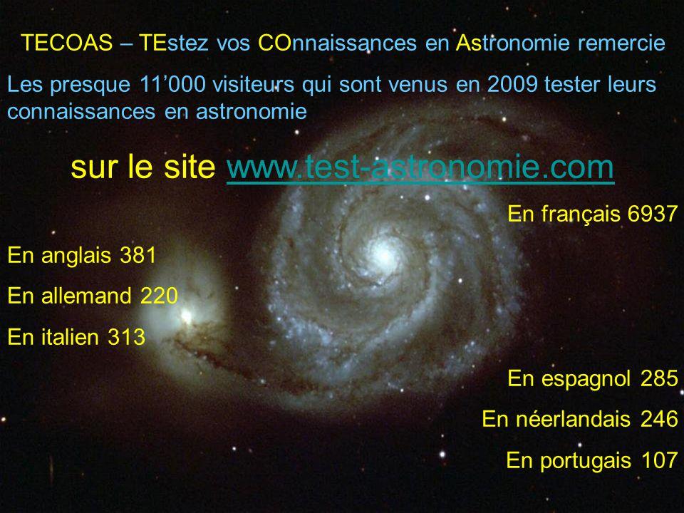 TECOAS – TEstez vos COnnaissances en Astronomie remercie Les presque 11000 visiteurs qui sont venus en 2009 tester leurs connaissances en astronomie s