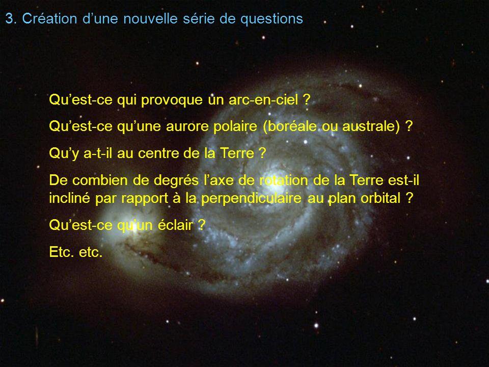 3. Création dune nouvelle série de questions Quest-ce qui provoque un arc-en-ciel ? Quest-ce quune aurore polaire (boréale ou australe) ? Quy a-t-il a