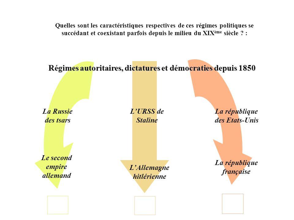I – Les régimes autoritaires depuis 1850 Quelles sont les caractéristiques communes de ces régimes .