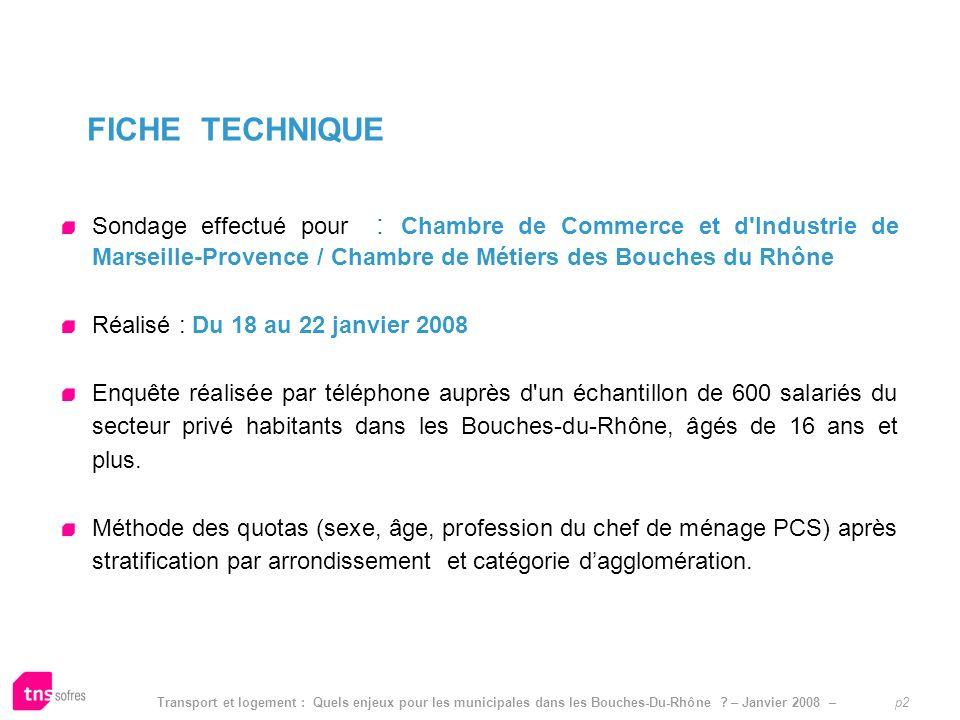 Transport et logement : Quels enjeux pour les municipales dans les Bouches-Du-Rhône ? – Janvier 2008 – p2 Sondage effectué pour : Chambre de Commerce
