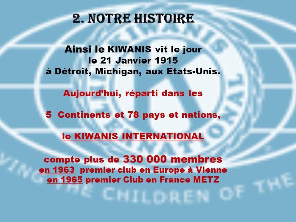 2. Notre histoire Ainsi le KIWANIS vit le jour le 21 Janvier 1915 à Détroit, Michigan, aux Etats-Unis. Aujourdhui, réparti dans les 5 Continents et 78