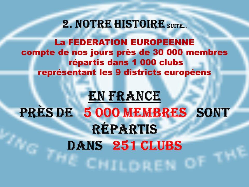 2. Notre histoire suite… La FEDERATION EUROPEENNE compte de nos jours près de 30 000 membres répartis dans 1 000 clubs représentant les 9 districts eu