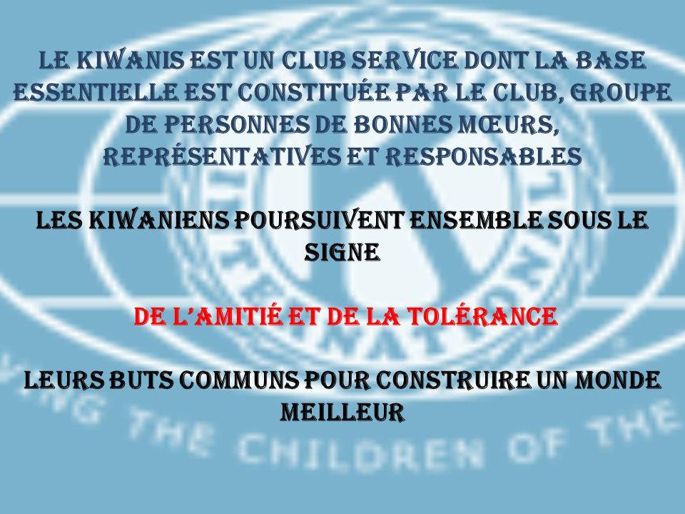 Le KIWANIS est un Club Service dont la base essentielle est constituée par le Club, groupe de personnes de bonnes mœurs, représentatives et responsabl