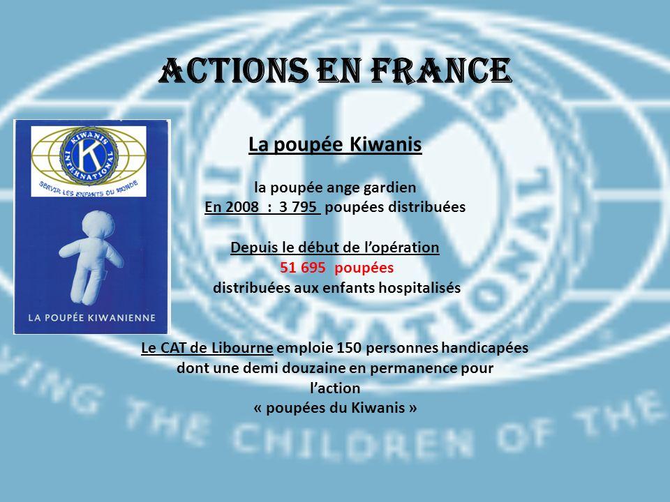 Actions en France La poupée Kiwanis la poupée ange gardien En 2008 : 3 795 poupées distribuées Depuis le début de lopération 51 695 poupées distribuée