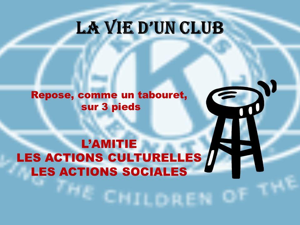 La Vie dun Club Repose, comme un tabouret, sur 3 pieds LAMITIE LES ACTIONS CULTURELLES LES ACTIONS SOCIALES