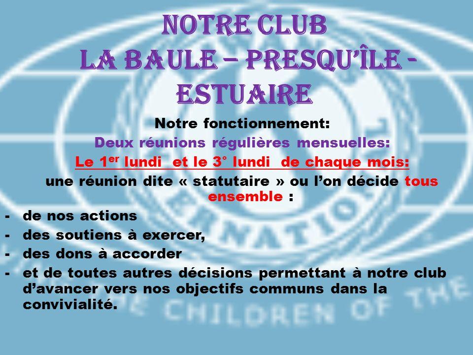 Notre CLUB LA BAULE – PRESQUÎLE - ESTUAIRE Notre fonctionnement: Deux réunions régulières mensuelles: Le 1 er lundi et le 3° lundi de chaque mois: une