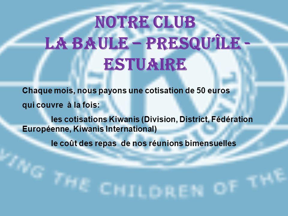 Notre CLUB LA BAULE – PRESQUÎLE - ESTUAIRE Chaque mois, nous payons une cotisation de 50 euros qui couvre à la fois: les cotisations Kiwanis (Division