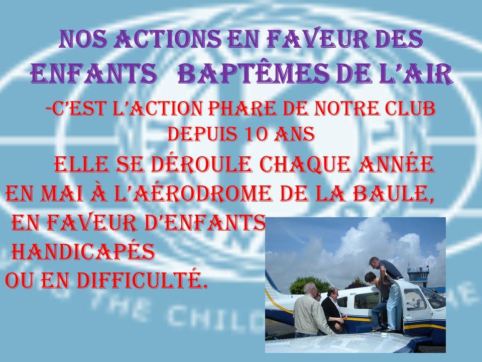 Nos actions en faveur des enfants BAPTÊMES DE LAIR -Cest laction phare de notre club depuis 10 ans Elle se déroule chaque année en Mai à laérodrome de