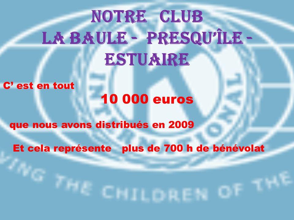 Notre CLUB LA BAULE - PRESQUÎLE - ESTUAIRE C est en tout 10 000 euros que nous avons distribués en 2009 Et cela représente plus de 700 h de bénévolat