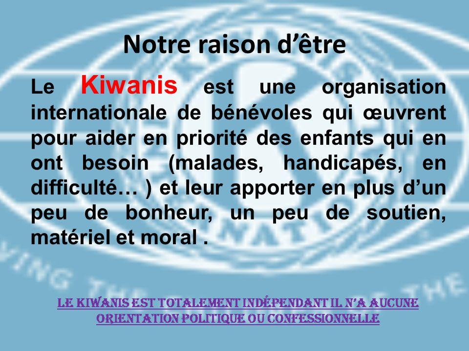Notre raison dêtre Le Kiwanis est une organisation internationale de bénévoles qui œuvrent pour aider en priorité des enfants qui en ont besoin (malad