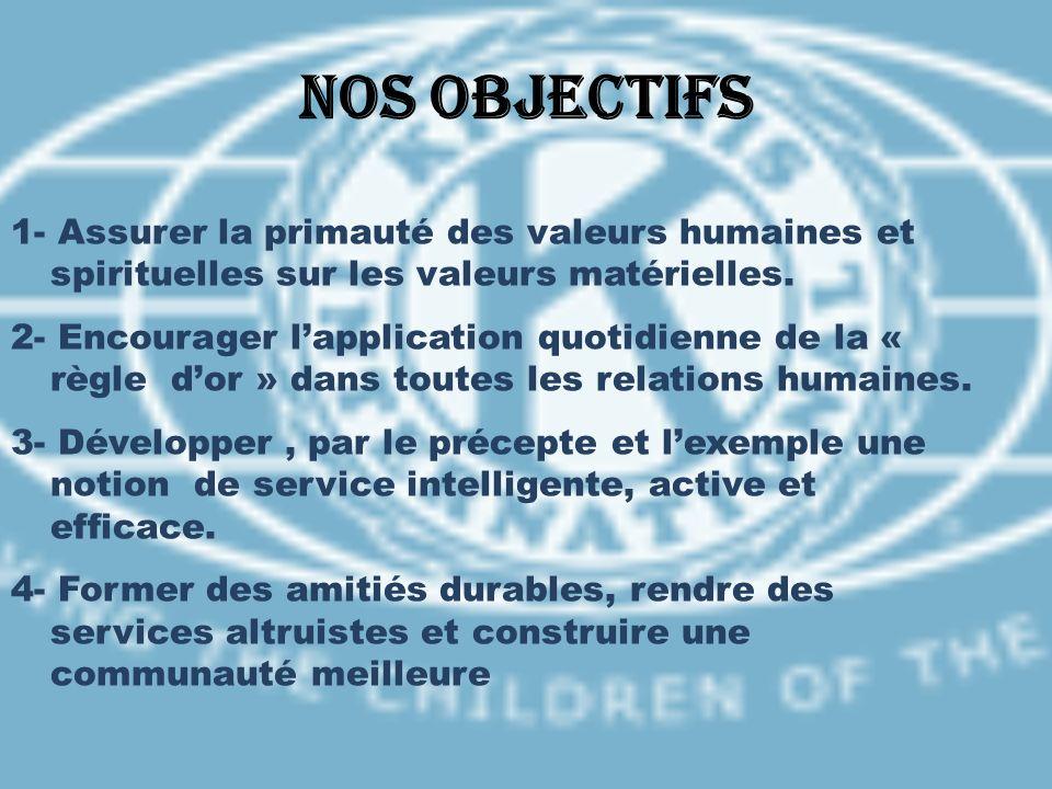 Nos objectifs 1- Assurer la primauté des valeurs humaines et spirituelles sur les valeurs matérielles. 2- Encourager lapplication quotidienne de la «