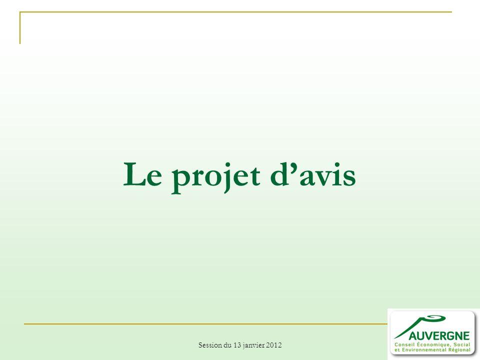 Session du 13 janvier 2012 Le projet davis